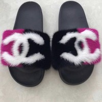 cherry mink fur slides