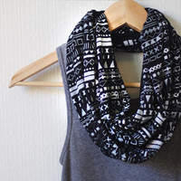 White Aztec Inspired Pattern on Black Infinity Scarf