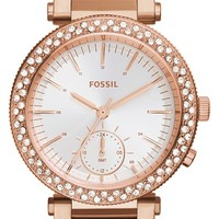 Women's Fossil 'Urban' Crystal Bezel Bracelet Watch, 35mm - Rose Gold