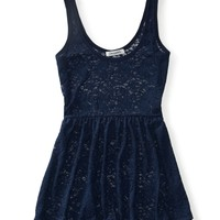 Sheer Floral Lace Tunic - Aeropostale