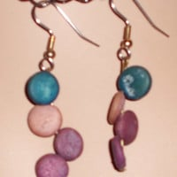 Earrings, Light Wood Painted Colorful