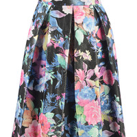 Multi-Color Floral Pleated Midi Skirt