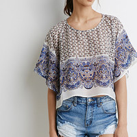 Abstract Floral Print Poncho Top