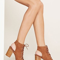 Lace-Up Peep Toe Booties | Forever 21 - 2000171556