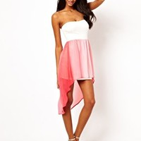 Oh My Love Bandeau Dress With Printed Skirt at asos.com