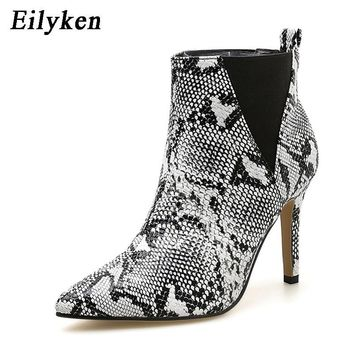 New Women Slip-On Snake Print Ankle Thin Heels Fashion Pointed toe Ladies Sexy Boots
