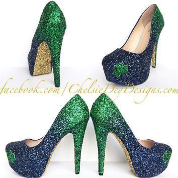 Green Glitter High Heels, Emerald Navy Blue Ombre Pumps, Shamrock Irish Shoes