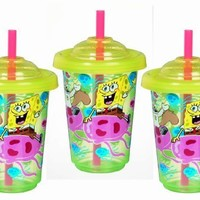 Munchkin 3 Pack Re-Usable Twist Tight Straw Cups, Spongebob Squarepants, 10 Ounce, Colors May Vary