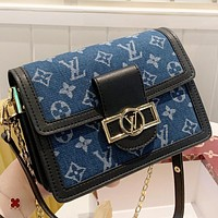 LV Louis Vuitton New fashion monogram leather shoulder bag crossbody bag Blue