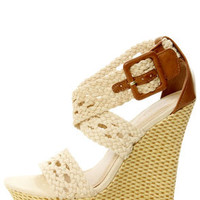 Bamboo Pompey 39 Beige Canvas Crocheted Wedge Sandals