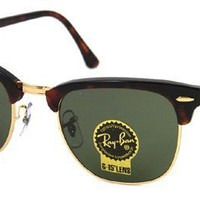Ray-Ban RB3016 Classic Clubmaster Sunglasses, Non-Polarized, Tortoise/Arista Frame/Crystal Green Lens, 49 mm