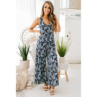 Flowers In The Sky Floral Jumpsuit (Navy/Blue)