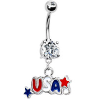 Patriotic USA Dual Gem Belly Ring | Body Candy Body Jewelry