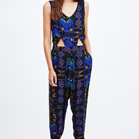 Staring at Stars Cut-Out Boho Jumpsuit in Blue - Urban Outfitters