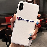 Champion Fashion New Embroidery Letter Women Men Leather Phone Case Protective Cover White