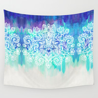 Indigo & Aqua Abstract - doodle painting Wall Tapestry by Micklyn