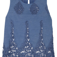Miguelina - Micha crocheted cotton-blend top