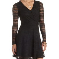 Long Sleeve Lace Skater Dress by Charlotte Russe
