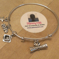 Graduation Gift idea -expandable bracelet with a diploma, hat, 2014 and star for that star student.