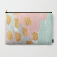 Soft Angles 2 - coral and mint abstract Carry-All Pouch by Allyson Johnson | Society6