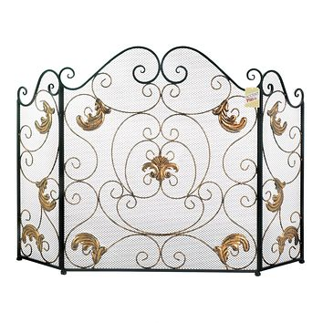 Fleur de Lis Fireplace Screen with Golden Accents