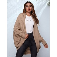 SHEIN Open Front Batwing Sleeve Cable Knit Coat