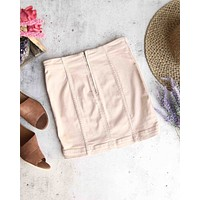 Free People - Modern Femme Novelty Mini Denim Skirt in Stone