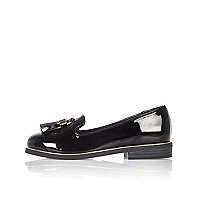 Girls black patent loafers