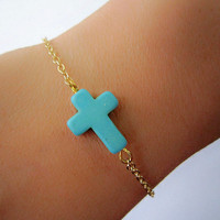 Dainty Turquoise Clover Bracelet / 18K Gold Plated Copper Chain