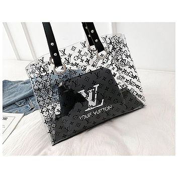 ADIDAS x NIKE x LV fashion hot seller two-piece one-shoulder bag with transparent print for women NIKE Black