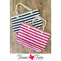 Striped Beach Tote Bag (Fuchsia or Black)