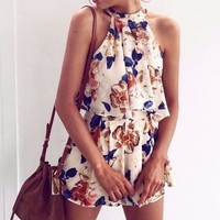 Halter ruffle women jumpsuit romper Sexy off shoulder linning floral elegant playsuit Summer beach sleeveless overalls