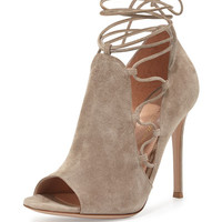 Gianvito Rossi Side Lace-Up Peep-Toe Bootie, Cashmere