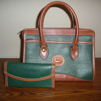 Dooney and Bourke Green Handbag and Matching Wallet