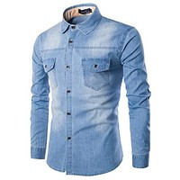 Men Long Sleeve Denim Shirt Mens Casual Dress Male Jean Shirts High Quality Street Wearing Hot Sale  Mens Shirts