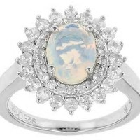 Ethiopian Opal & White Zircon Ring