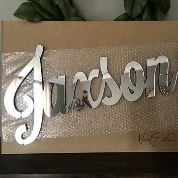 """24"""" Silver Mirror Medium Personalized Name Sign"""