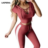 LASPERAL 2Pc Women Sports Yoga Set Fitness Athletic Set Crop Top Hoodie+ Leggings Women's Sport Suit Tracksuit Sportswear Outfit
