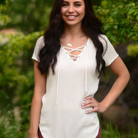 Pull It Together Top- Ivory