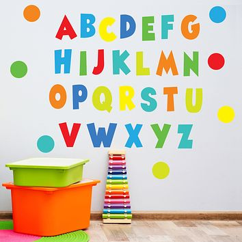 Rainbow Brights Alphabet Wall Decals, ABC's, Eco Friendly Nursery Decor, ABC Wall Stickers, Kids Room Wall Decals