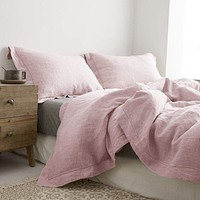 Belgian Linen Embroidered Duvet Cover 3 Piece Set in 7 Colors