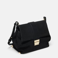 SPLIT LEATHER CITY BAG WITH METAL CLASPDETAILS
