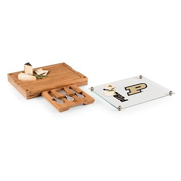 Purdue Boilermakers - Concerto Glass Top Cheese Cutting Board & Tools Set, (Bamboo)