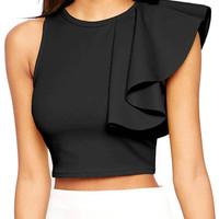 Black Zip Up Crop Top with Frill