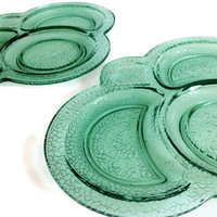 Vintage 1920s L. E. Smith, Depression Glass, Snack Plates, (2) By Cracky Pattern, Green, Clover Shape, Home Decor, Antique Glassware