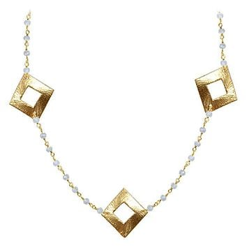 """CHG-202-RM-18"""" 18K Gold Overlay Necklace With Rainbow Moonstone"""