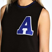 Layla Raw Edge Applique Sweat Tank