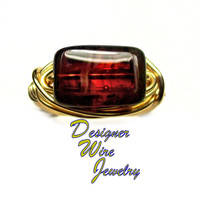 DWJ0273 Stunning Czech Glass Rustic Sunfire Gold Wire Wrap Ring All Sizes
