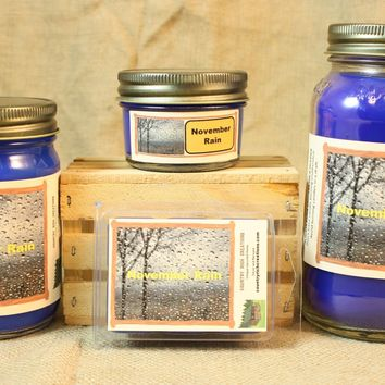 November Rain Scent Candles and Wax Melts, Nature Scent Candle Wax, Highly Scented Candles and Wax Tarts, Fall Scent Candle, Yankee Type