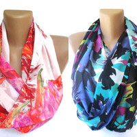 pink and neon scarves, Two  infinity , eternity , circle scarf , chiffon fabric scarfs